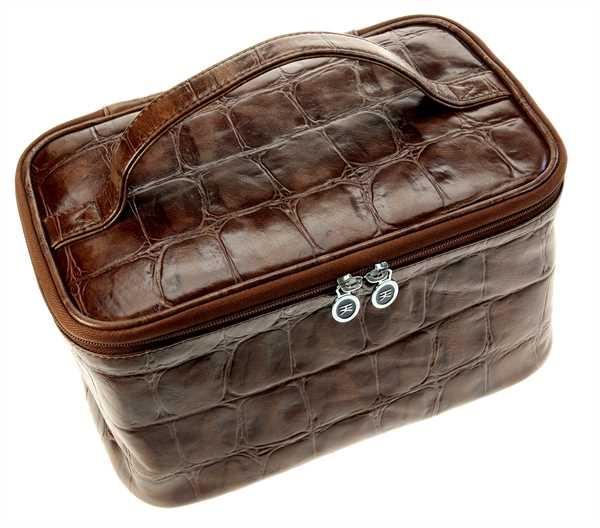 Beauty-Case, Rindleder mit Croco-Prägung, braun