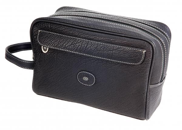 Kultur-Doppelbox, hoch, Wasserbüffel-Leder, schwarz mit Kontrastnähten