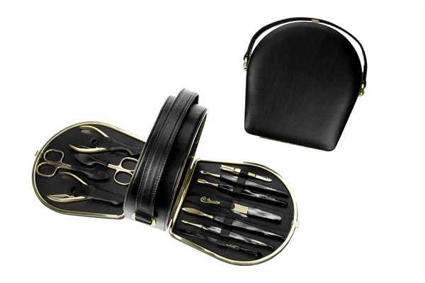 Manicure-Koffer: 11-tlg. Bestückung, hartvergoldet; Vollrindleder, schwarz