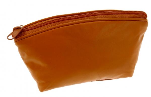 Schmink-Täschchen, orange, Nappa-Vollrindleder