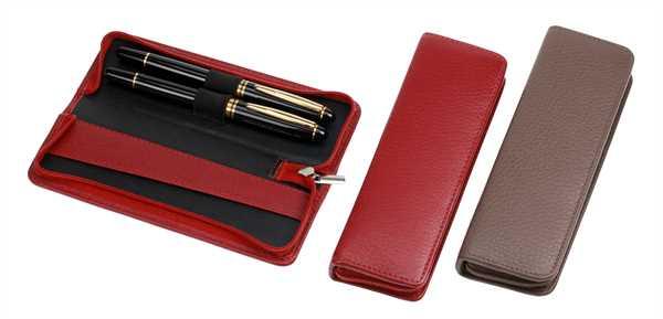 Stift-Etui mit Reißverschluss, für zwei Schreibgeräte, karminrot