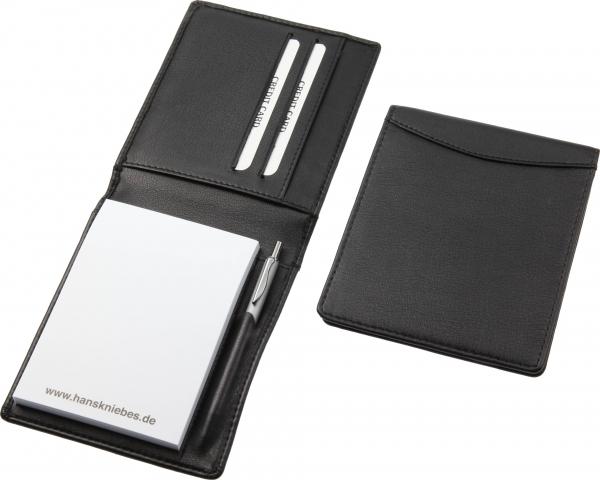 Notizmäppchen, mit Block (A7) und Micro-Kugelschreiber, schwarz