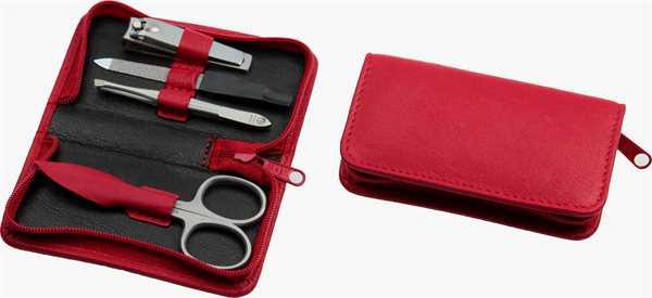 Manicure-Etui: 4-tlg. Bestückung, rostfrei; Nappa-Vollrindleder, rot