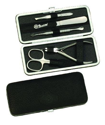 Manicure-Etui, Rahmen: 5-tlg. Bestückung, rostfrei; Vollrindleder, schwarz