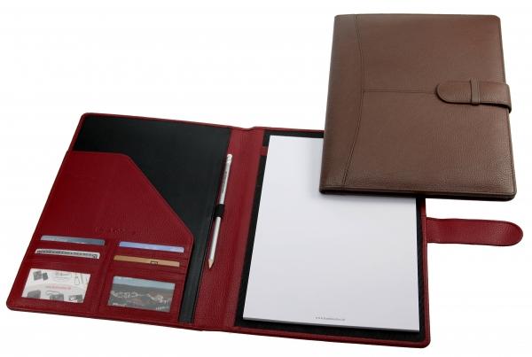 Schreibmappe mit Lasche, mit A4-Block und Bleistift, karminrot