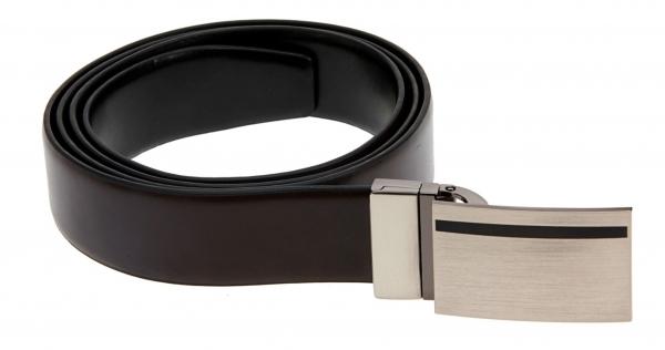 Leder-Wendegürtel, schwarz-braun m. aufwendiger drehbarer Gürtelschnalle