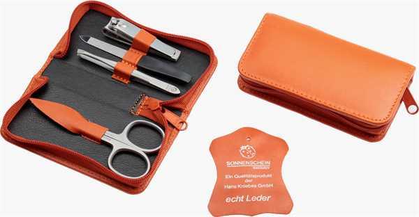 Manicure-Etui: 4-tlg. Bestückung, rostfrei; Nappa-Vollrindleder, orange