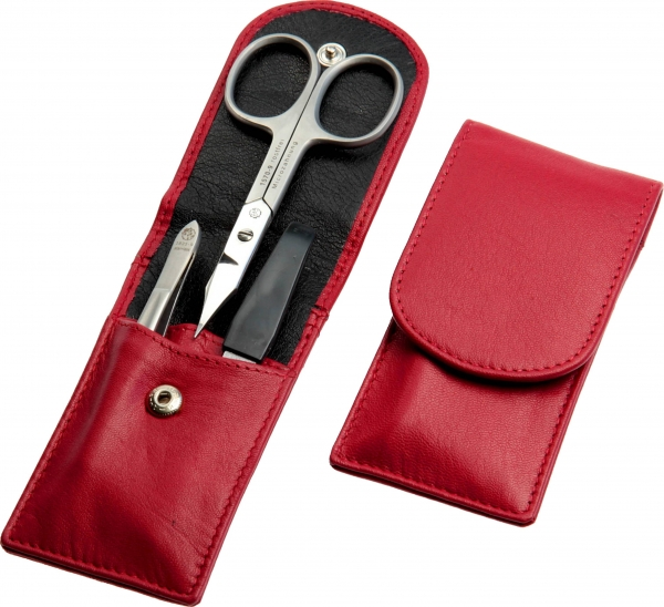 Taschenetui: 3-tlg. Bestückung, rostfrei; Nappaleder, rot
