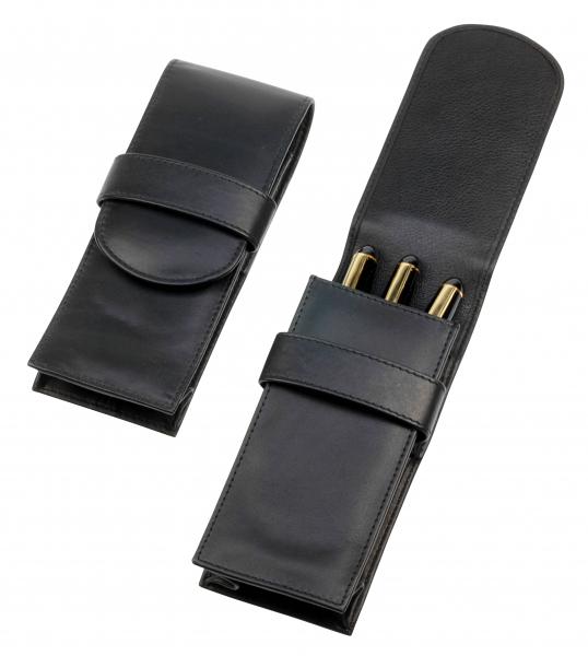 Jumbo-Stecketui mit Lasche, für drei Schreibgeräte, schwarz