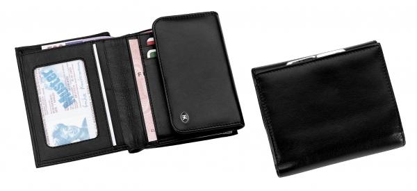 Damen-Portemonnaie, mit Bügel, schwarz
