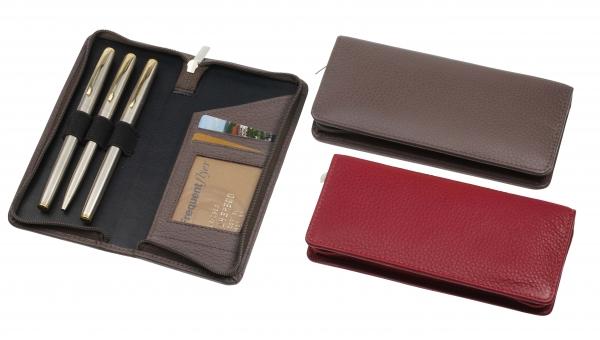 Stift-Etui mit Reißverschluss, für drei Schreibgeräte, taupe