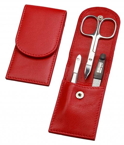 Taschenetui: 3-tlg. Bestückung, verchromt; Nappaleder, rot
