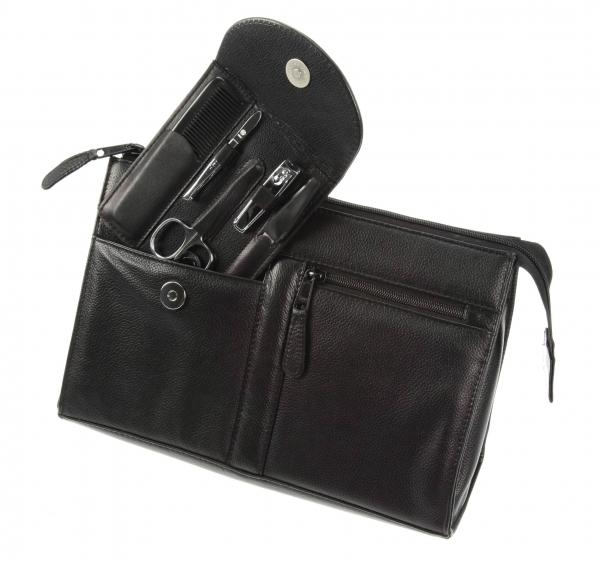 Kulturtasche mit 5-tlg. Manicure-Stecketui, schwarz, mit Nagelknipser