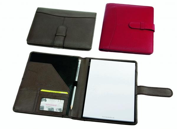 Schreibmappe mit Lasche, mit A5-Block und Bleistift, taupe