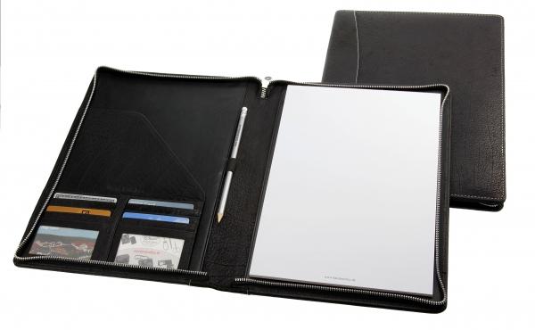 Schreibmappe, mit Metall-Reißverschluss, A4-Schreibblock und Bleistift, schwarz