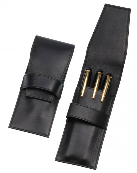 Steck-Etui mit Lasche, für drei Schreibgeräte, schwarz