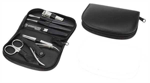 Manicure-Etui: 7-tlg. Bestückung, ROSTFREI; Nappa-Vollrindleder, schwarz