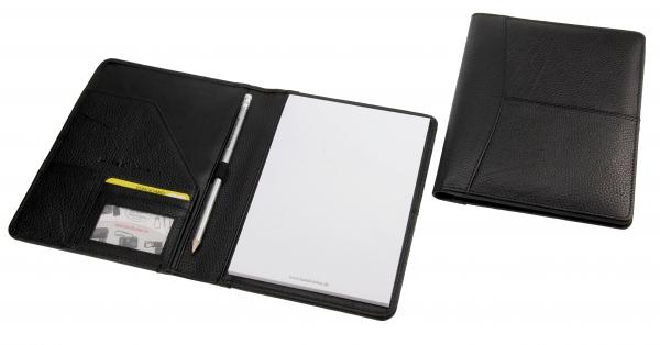 Schreibmappe, mit A5-Block und Bleistift, schwarz