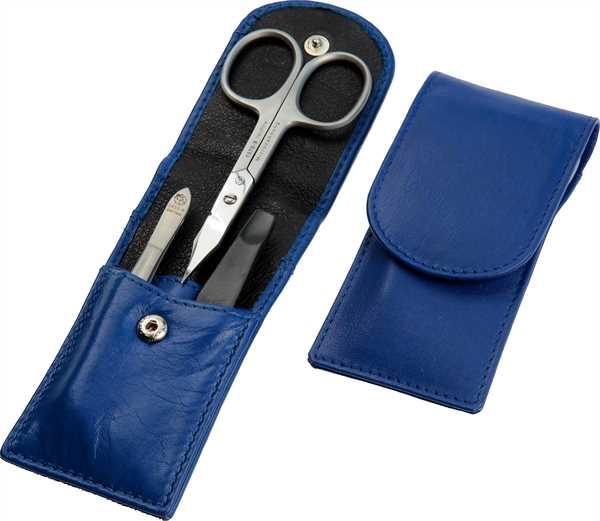 Taschenetui: 3-tlg. Bestückung, rostfrei; Nappaleder, kobaltblau