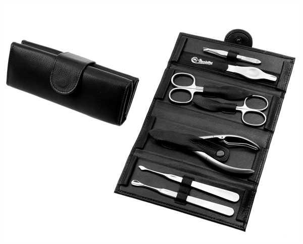 Manicure-Rolle: 7-tlg. Bestückung, rostfrei; Vollrindleder, schwarz