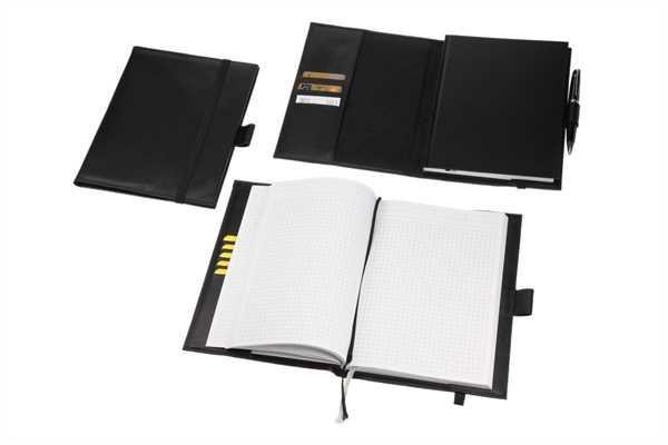 Ledereinband für A5 Notizbücher, schwarz
