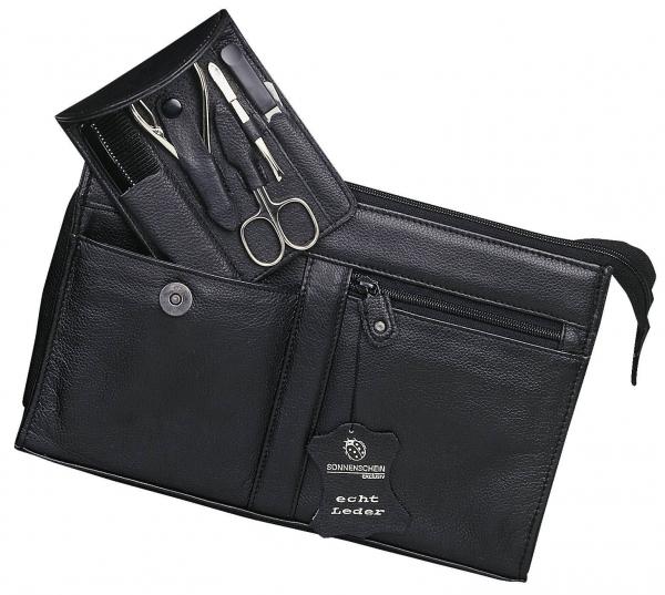 Kulturtasche mit 5-tlg. Manicure-Stecketui, schwarz, mit Nagelzange