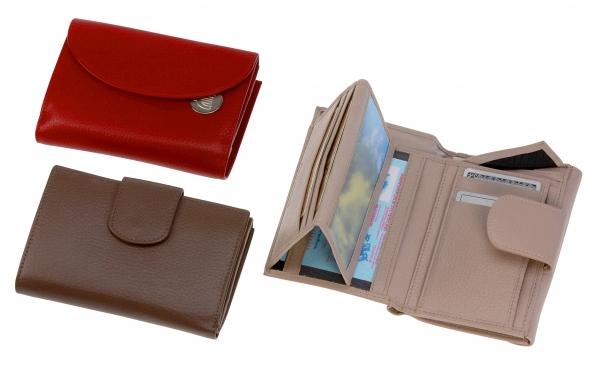 Damen-Portemonnaie, mit Riegel, taupe