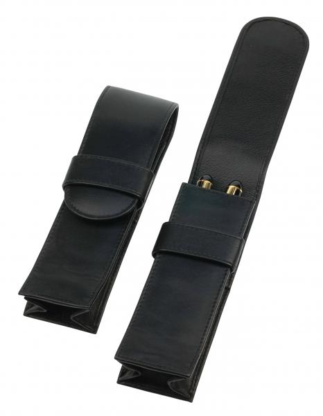 Jumbo-Steck-Etui mit Lasche, für zwei Schreibgeräte, schwarz