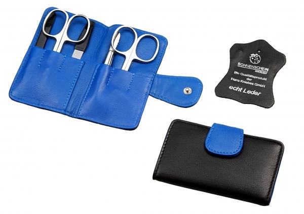 Taschen-Manicure-Etui, Nappa lammleder, schwarz/kobalt, 5-tlg. Bestückung, rostfrei-glanzpoliert