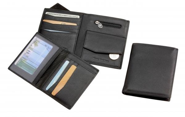 Herrengeldbörse, Hochformat, mit herausnehmarem Ausweis-Mäppchen, schwarz