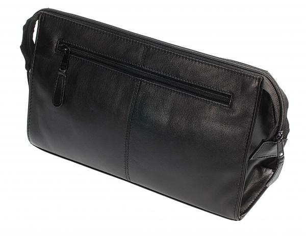 Kulturtasche, Rindleder, schwarz