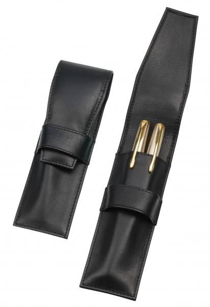 Steck-Etui mit Lasche, für zwei Schreibgeräte, schwarz