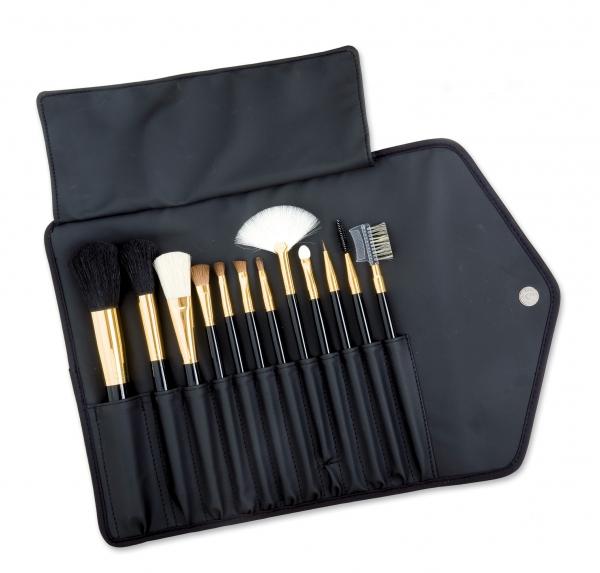 Nylon-Tasche mit 12 Kosmetikpinseln