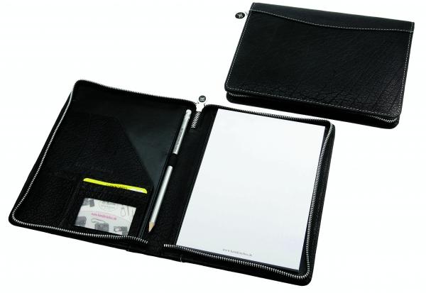 Schreibmappe, mit Metall-Reißverschluss, A5-Schreibblock und Bleistift, schwarz
